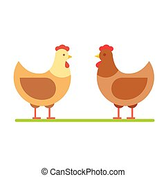 Hen vector illustration. Stylized poultry farm chicken flat icon.