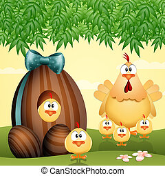 Chocolate eggs - hen with a family of chicks and Chocolate...