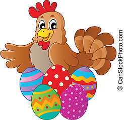 Hen with various Easter eggs