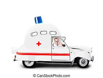 hencegő alak, autó, mentőautó