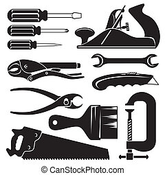 hend tools - set of vector silhouette icons of hend tools