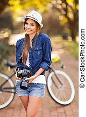 hende, fotografi, unge, kamera, poser, pige