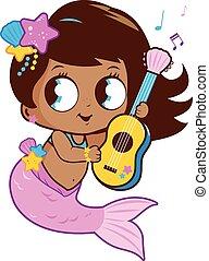 hende, guitar., illustration, vektor, musik, spille, havfrue