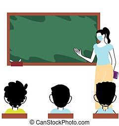 hende, lærer, studerende, masker, klasseværelse, slide