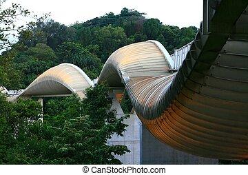 henderson, brücke, welle, modern, singapur