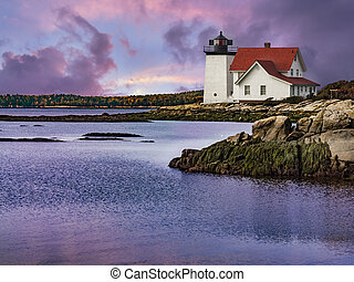 Hendricks Head Lighthouse in Maine's Boothbay region, is ...