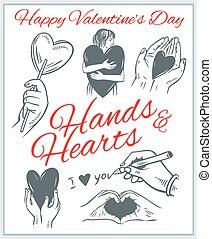 hends, ו, לבבות, -, יום של ולנטיינים, set.