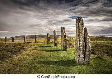 henge, pierre, orkney, brodgar, scotland., néolithique, cercle, anneau