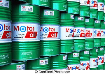 hengerek, olaj, csoport, kazalba rakott, motor, raktárépület, kenőanyag