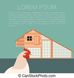 Henhouse banner with chicken - Vector image of a banner with...