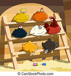 Hens sit on the perch, vector illustration