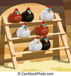 Henhouse - Hens sleep on a perch in a henhouse