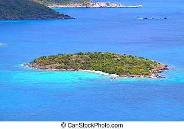 View of Henley Cay from Saint John in the US Virgin Islands.
