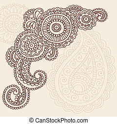 henné, mehndi, paisley, doodles, vecteur