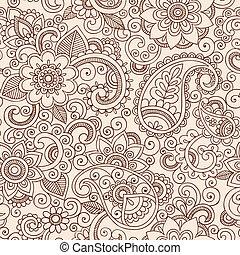 henné, mehndi, paisley, modèle floral