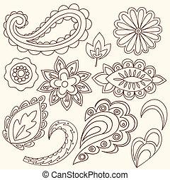 henna, ペイズリー織, 入れ墨, doodles, ベクトル
