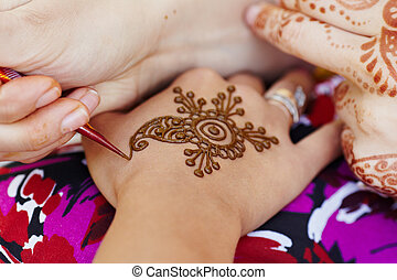 Henna art on woman's hand - The Indian pattern is drawn a...