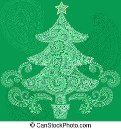 Henna Christmas Tree Doodle Design