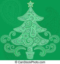 Henna Christmas Tree Doodle Design