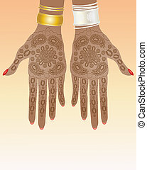 henna design - an illustration of a pair of hands with...