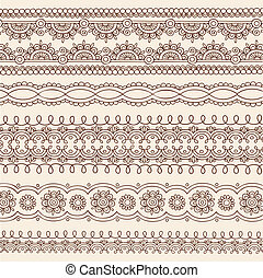 Henna Doodle Border Designs Vector - Hand-Drawn Henna Mehndi...