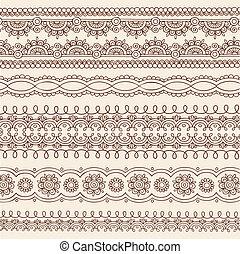 Henna Doodle Border Designs Vector - Hand-Drawn Henna Mehndi...
