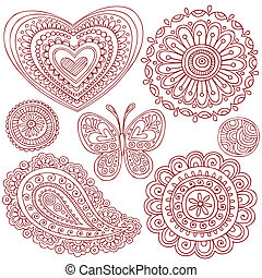 Henna Doodles Design Elements Set - Henna Mehndi Tattoo...