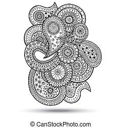 henna, element., mehndi, doodles, デザイン, ペイズリー織
