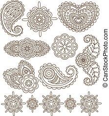 henna., ensemble, indien, illustration, mandala, vecteur, floral, ornements