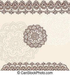 Henna Flower and Border Design Set - Hand-Drawn Henna Mehndi...