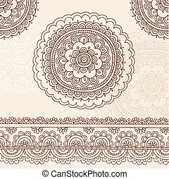 Henna Flower Mandala Doodle Vector - Hand-Drawn Henna Mehndi...