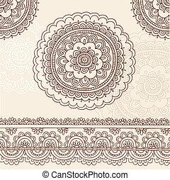 Henna Flower Mandala Doodle Vector