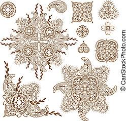 paisley design elements set