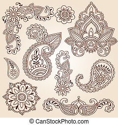Henna Mehndi Doodle Design Elements