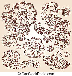 Henna Mehndi Paisley Flower Doodles - Henna Paisley Mandala...