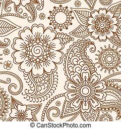 Henna mehndi seamless pattern - Henna mehndi tattoo doodle...
