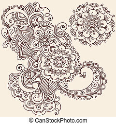 Hand-Drawn Henna Mehndi Tattoo Paisley Flowers Doodles Vector Illustration Design Elements
