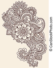 Henna Mehndi Tattoo Doodle Design - Henna Paisley Flowers...