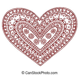 Henna Mehndi Tattoo Heart Valentine - Hand-Drawn Heart Henna...