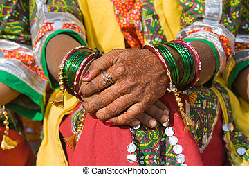 Henna on hands of bride from India
