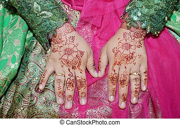 Henna On Hands Of Indonesian Wedding Bride