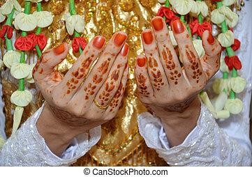 Henna On Hands Of Indonesian Wedding Bride
