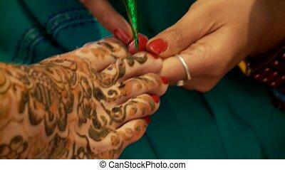 Henna Painting On Feet (India)