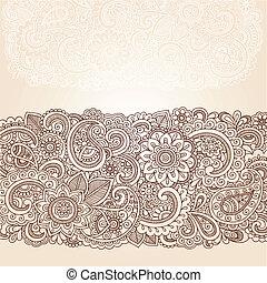 henna, paisley, flores, borda, desenho