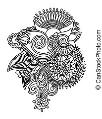 henna paisley flower design, hand drawing decoratio