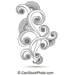 Henna Paisley Mehndi Doodles Design Element. - Henna Paisley...