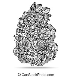 Henna Paisley Mehndi Doodles Design Element.