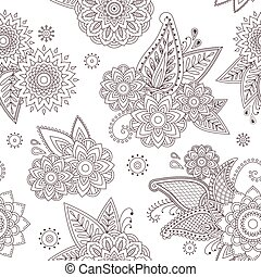 Henna paisley mehndi tattoo doodle seamless vector pattern