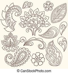 Henna Paisley Tattoo Doodles Vector