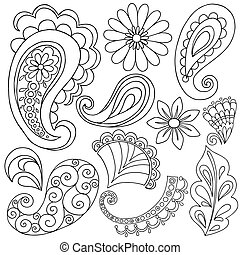 Henna Mehndi Tattoo Doodle Abstract Floral Paisley Design Elements Vector Illustration